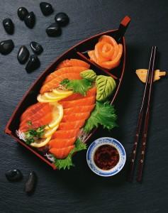 Japanese Sashimi in Boat-shaped Dish
