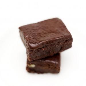 Pile of Two Chocolate Brownies on a Plate