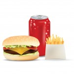 Burger, Soda Can  and Fries